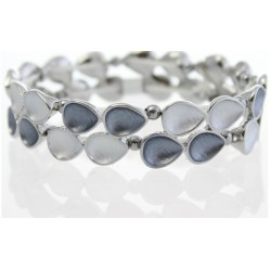 Two-Tone Grey Tear Drop Bracelet