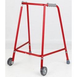 Red Adjustable Height Narrow Wheeled Walking Frame